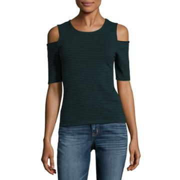 City Streets Ribbed Cold Shoulder Top