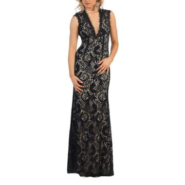 Sleeveless Lace Evening Gown With Cutout Back