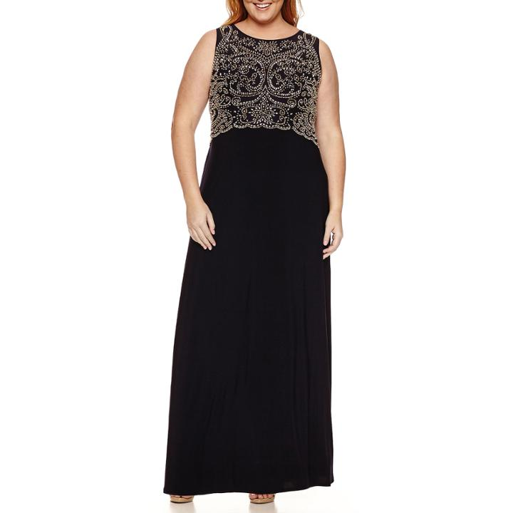 Jackie Jon Sleeveless Beaded Evening Gown Plus Lookmazing
