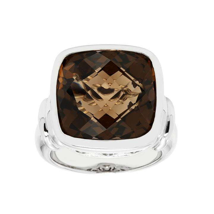 Womens Brown Quartz Sterling Silver Cocktail Ring