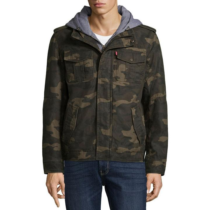 Levi's Hooded Cotton Trucker With Sherpa Lining