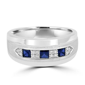 Modern Bride Gemstone Mens Diamond Accent Blue Sapphire 10k Gold Band