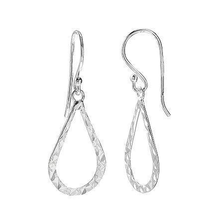 Sterling Silver Diamond-cut Teardrop Earrings