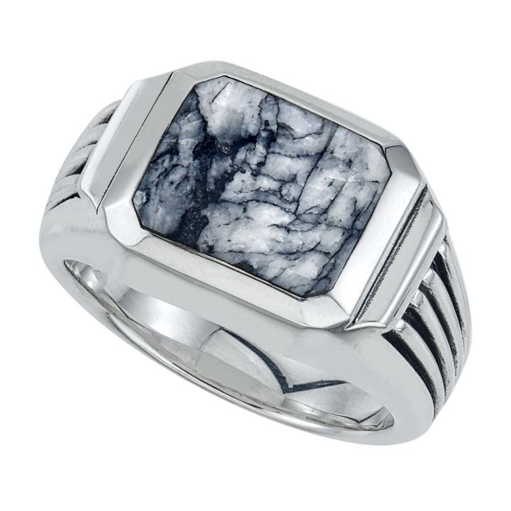 Mens Black Sterling Silver Cocktail Ring