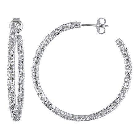 1/2 Ct. T.w. Diamond Sterling Silver Hoop Earrings