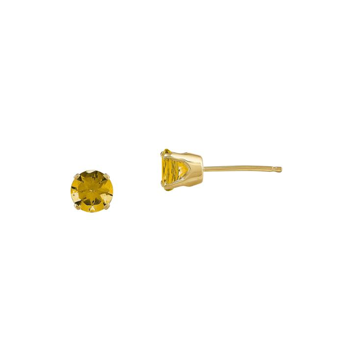 5mm Genuine Yellow Citrine 14k Yellow Gold Stud Earrings