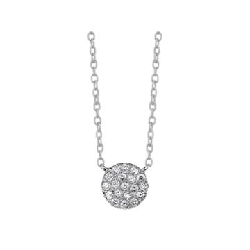 Bridge Jewelry Womens Clear Cubic Zirconia Sterling Silver Pendant Necklace