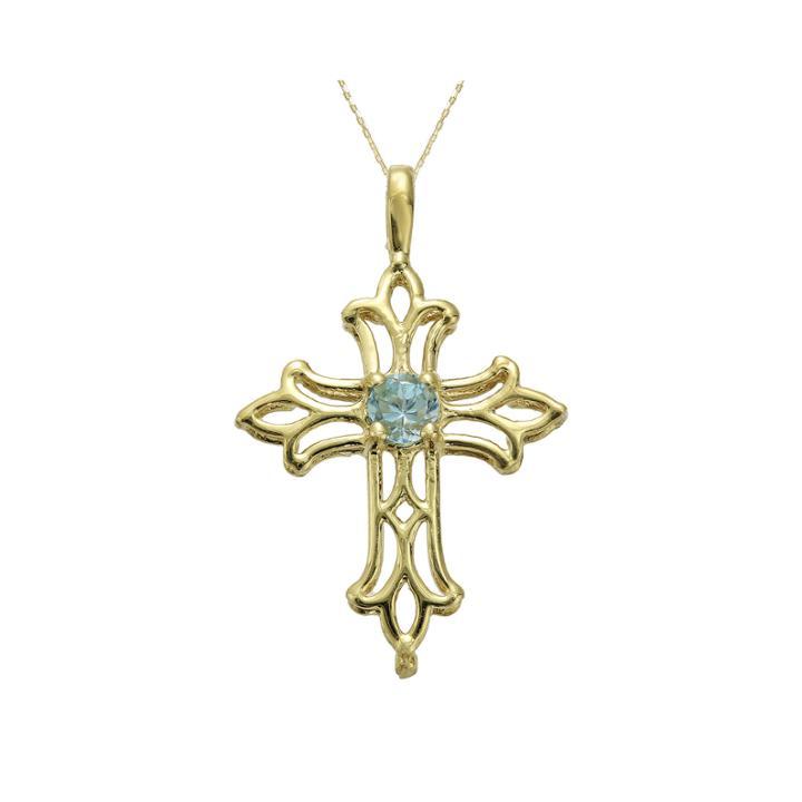 Genuine Blue Topaz 10k Yellow Gold Cross Pendant Necklace