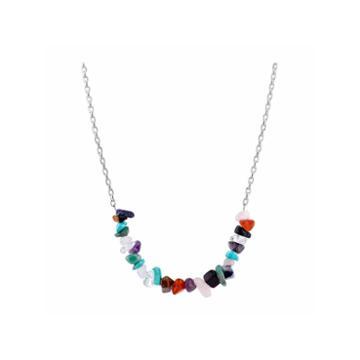 Bridge Jewelry Womens Multi Color Silver Over Brass Pendant Necklace