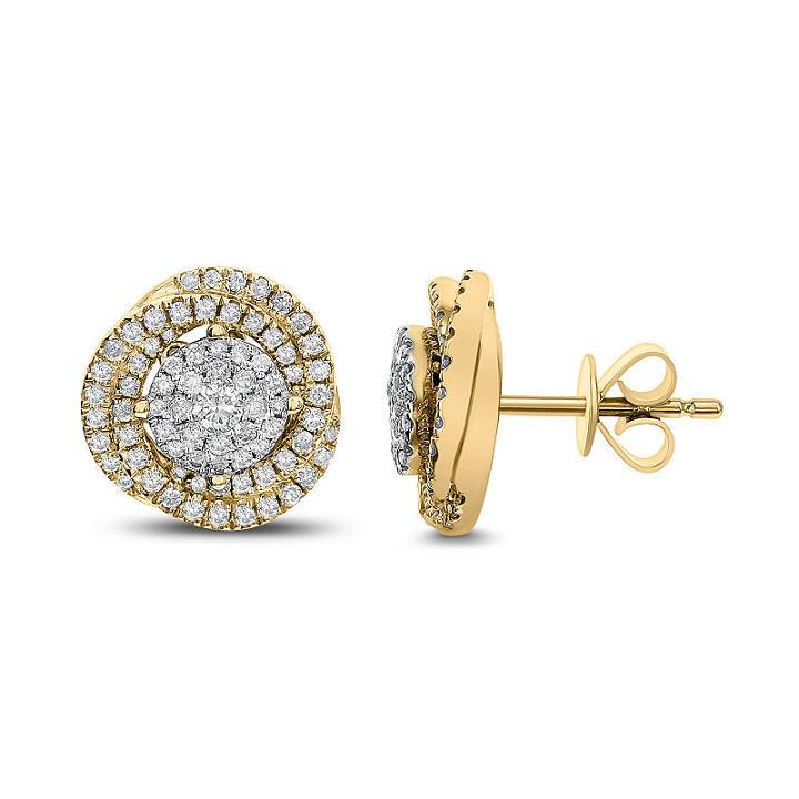 3/4 Ct. T.w. White Diamond 14k Gold 11.7mm Stud Earrings