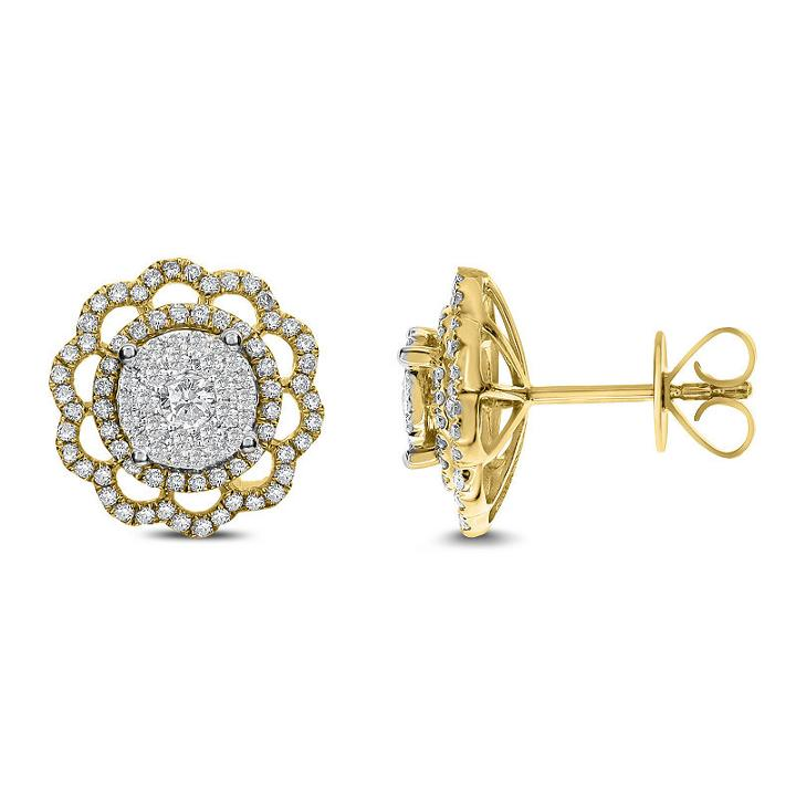 1 Ct. T.w. White Diamond 14k Gold 13.4mm Stud Earrings