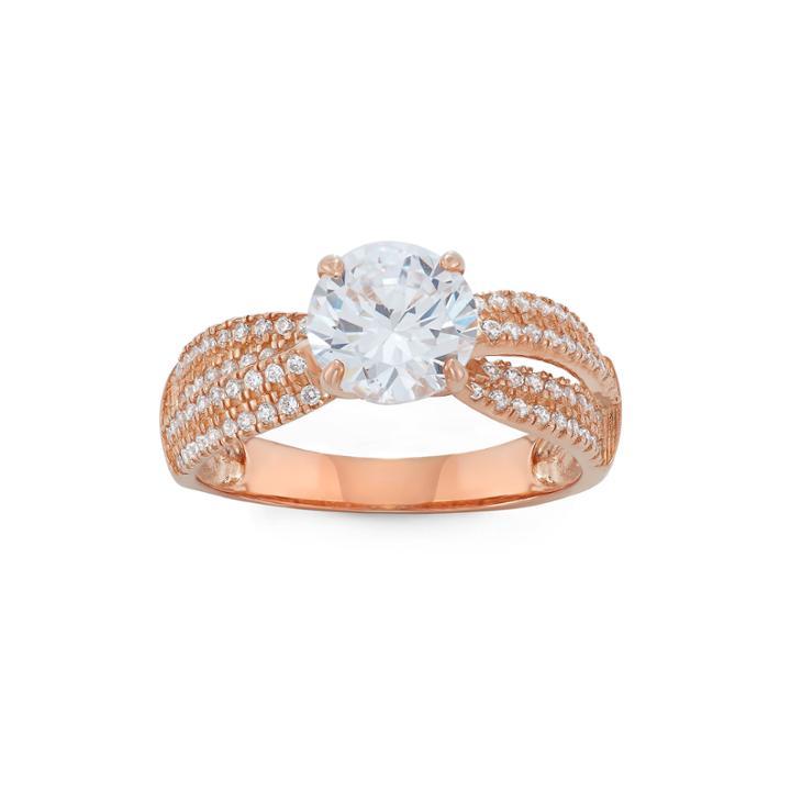 Diamonart Womens 2 1/2 Ct. T.w. Lab Created Round White Cubic Zirconia 10k Gold Engagement Ring