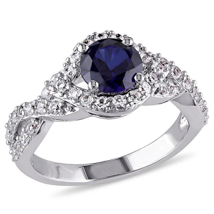 Modern Bride Gemstone Womens Lab Created Sapphire Blue Engagement Ring