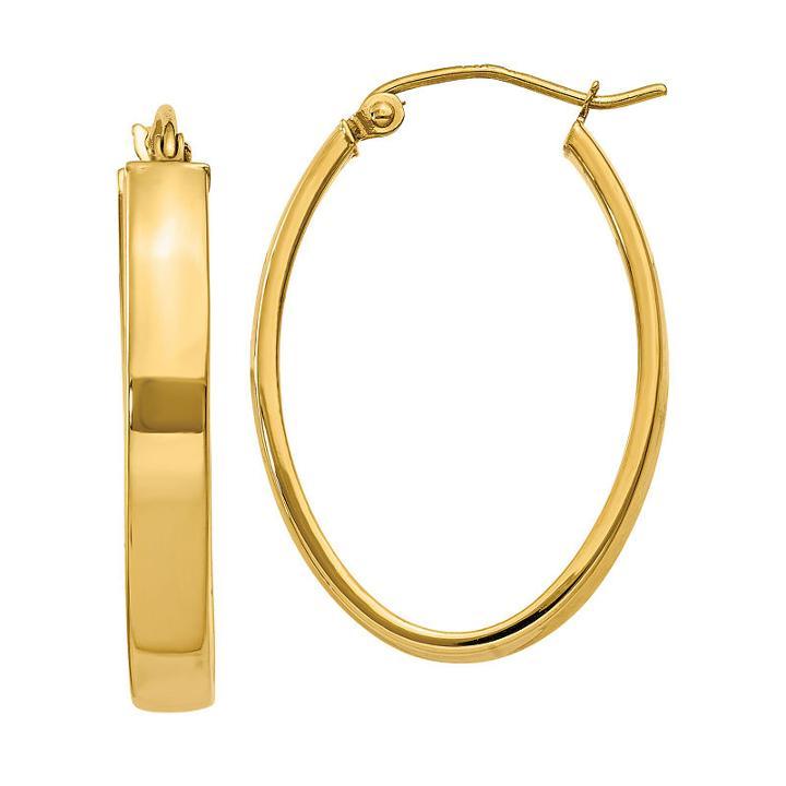 14k Gold 17mm Oval Hoop Earrings