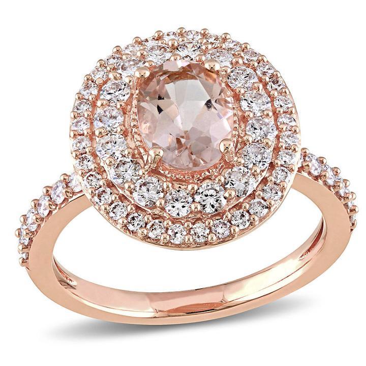 Modern Bride Gemstone Womens Pink Morganite 14k Gold Engagement Ring