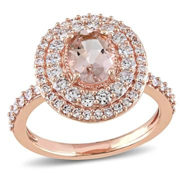 Modern Bride Gemstone Womens Pink Morganite 14k Gold Engagement Ring