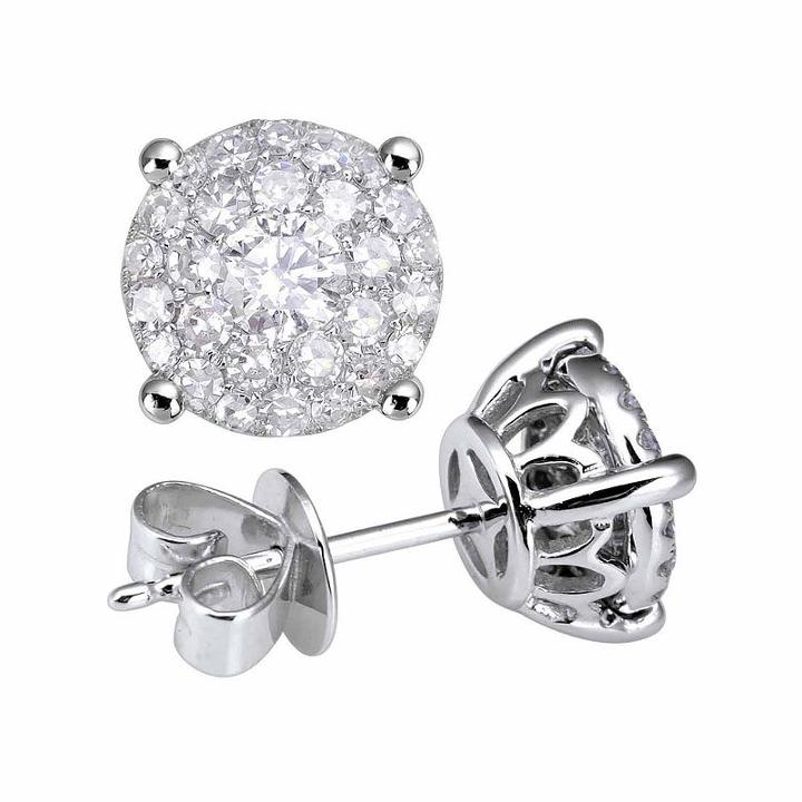 1 Ct. T.w. Genuine White Diamond 14k Gold Stud Earrings