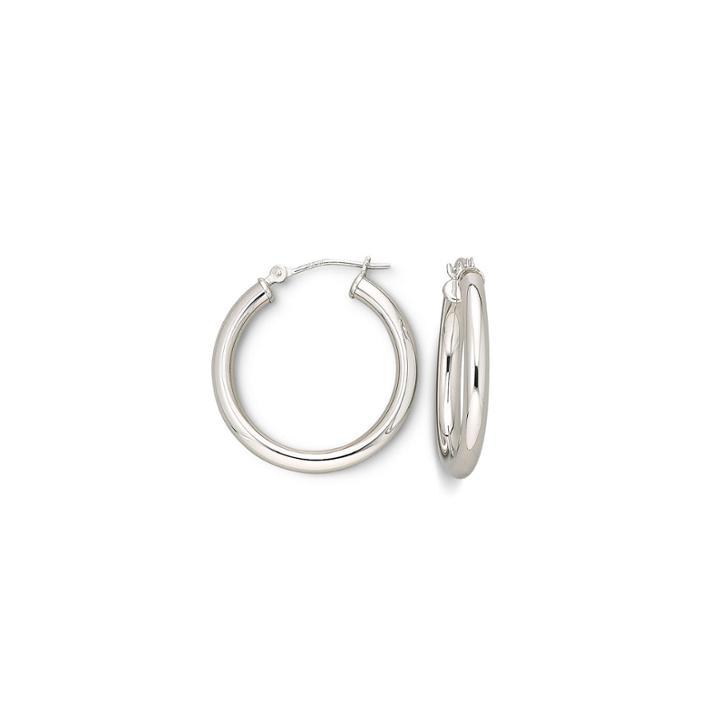 14k White Gold Polished Hoop Earrings