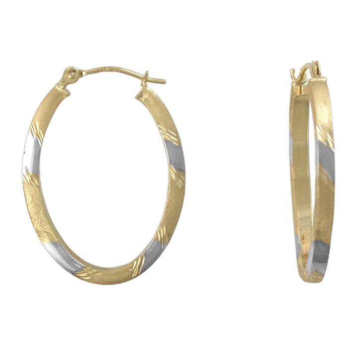 Two-tone 14k Gold Oval Hoop Earrings