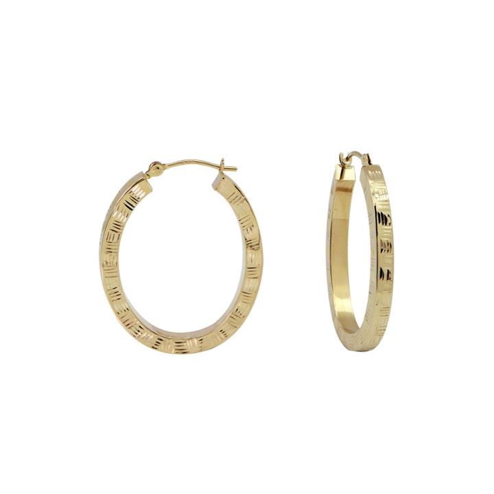 14k Yellow Gold Diamond-cut Oval Hoop Earrings