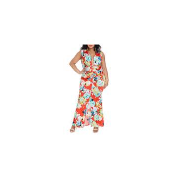 Fashion To Figure Tatiana Floral V Plunge Maxi Dress-plus