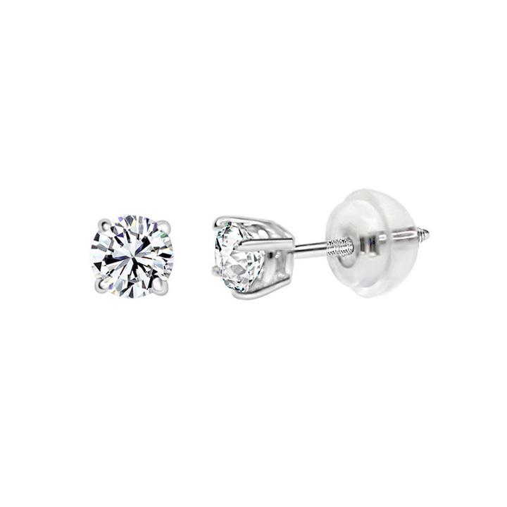 14k White Gold 4.5mm Round Stud Earrings Featured Swarovski Zirconia