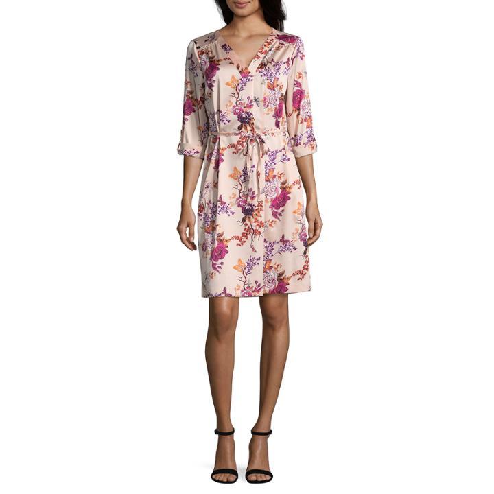 Worthingtonlong Roll-tabsleeve Shirt Dress