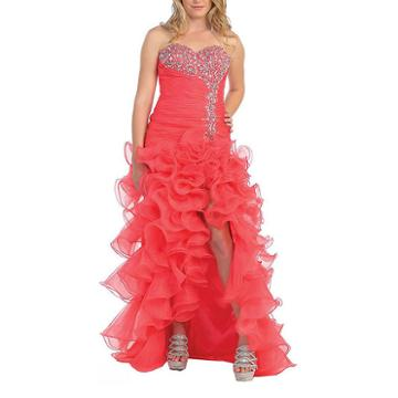 Sexy Strapless Ruffled Prom Dress With Thigh High Slit