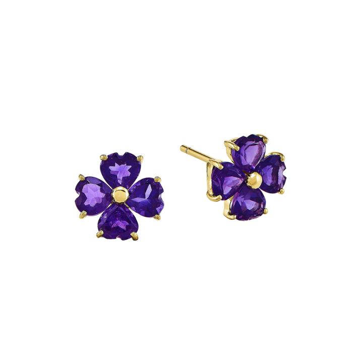 Heart-shaped Genuine Amethyst 14k Yellow Gold Flower Earrings