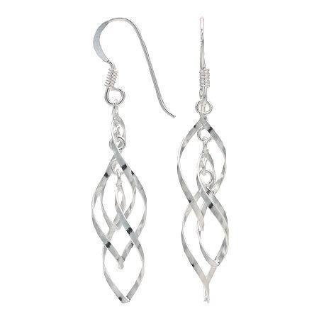 Sterling Silver Intertwining Twist Earrings