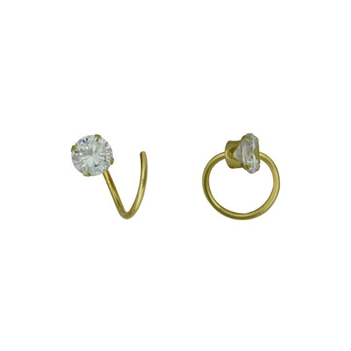 Cubic Zirconia 14k Yellow Gold Corkscrew Earrings