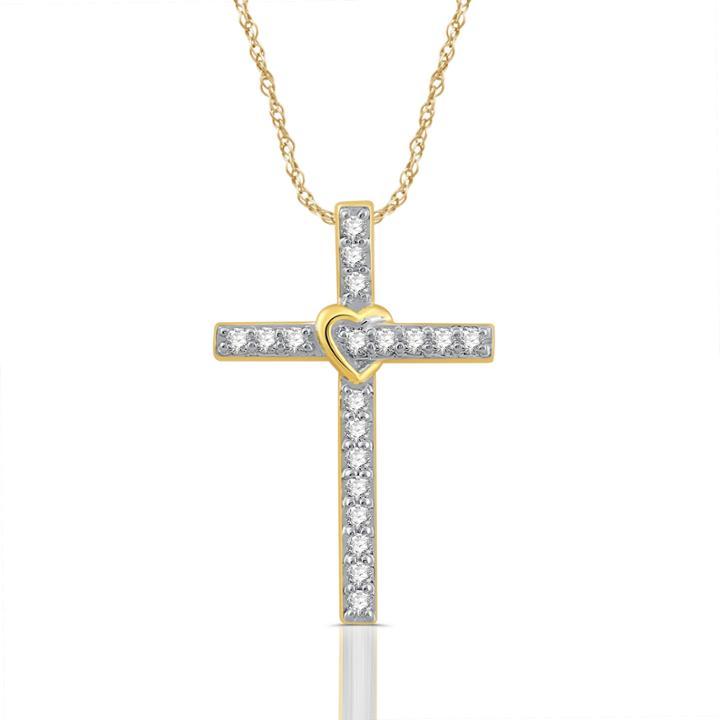 1/4 Ct. T.w. White Diamond Round 10k Gold Pendant