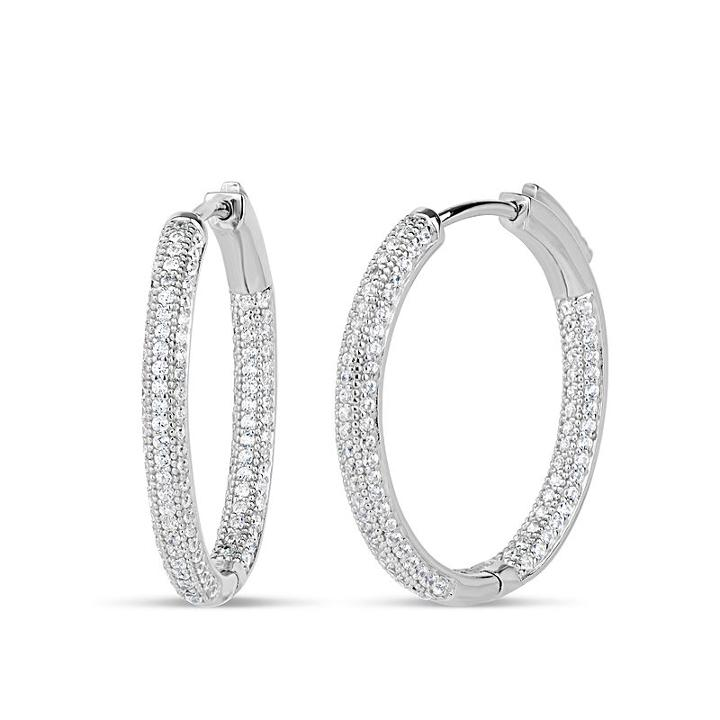 2 1/2 Ct. T.w. Lab Created White Cubic Zirconia 28mm Curved Hoop Earrings