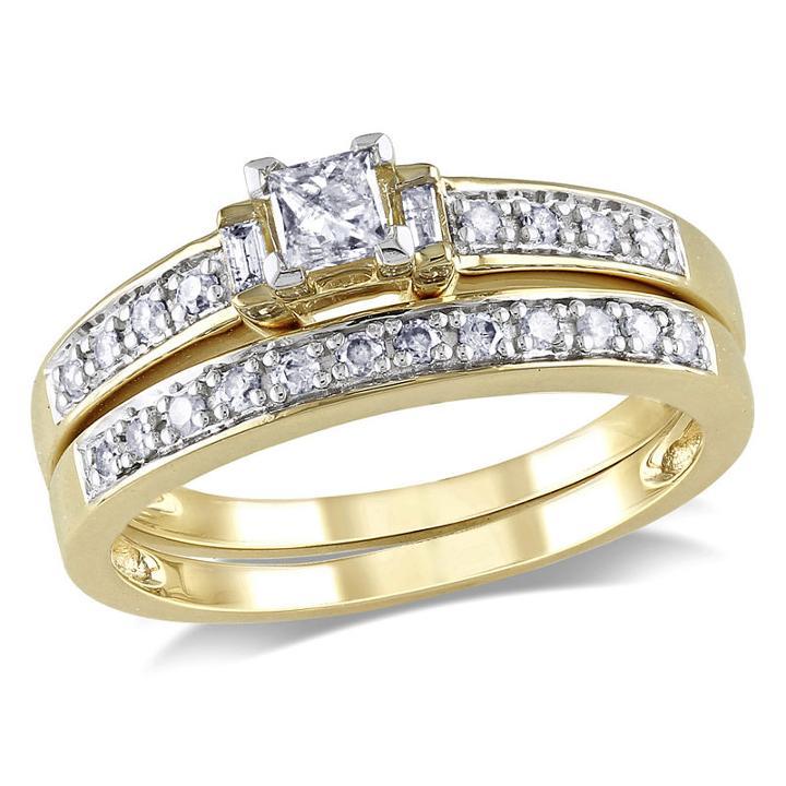 Womens 1/3 Ct. T.w. Genuine White Diamond 14k Gold Bridal Set
