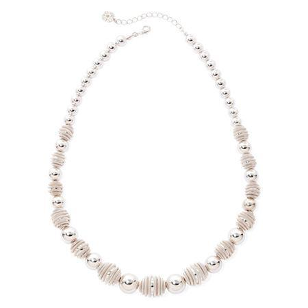 Monet Silver-tone Textured Bead Necklace