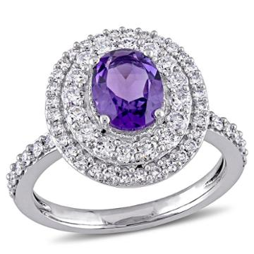 Modern Bride Gemstone Womens Purple Amethyst 14k Gold Engagement Ring