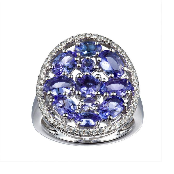 Womens Tanzanite Blue Sterling Silver Cocktail Ring