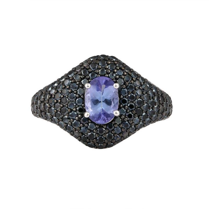 Womens Tanzanite Purple Sterling Silver Cocktail Ring