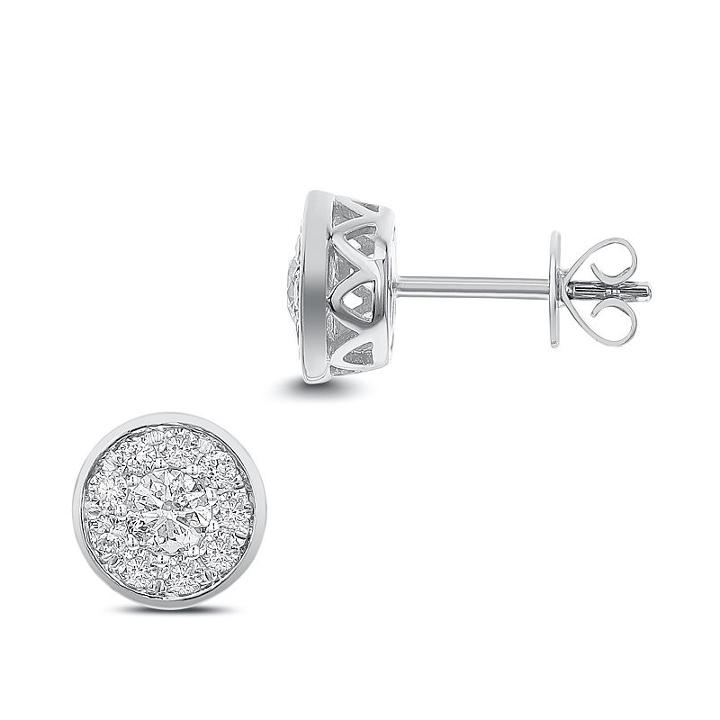 3/4 Ct. T.w. White Diamond 14k White Gold 8.1mm Stud Earrings