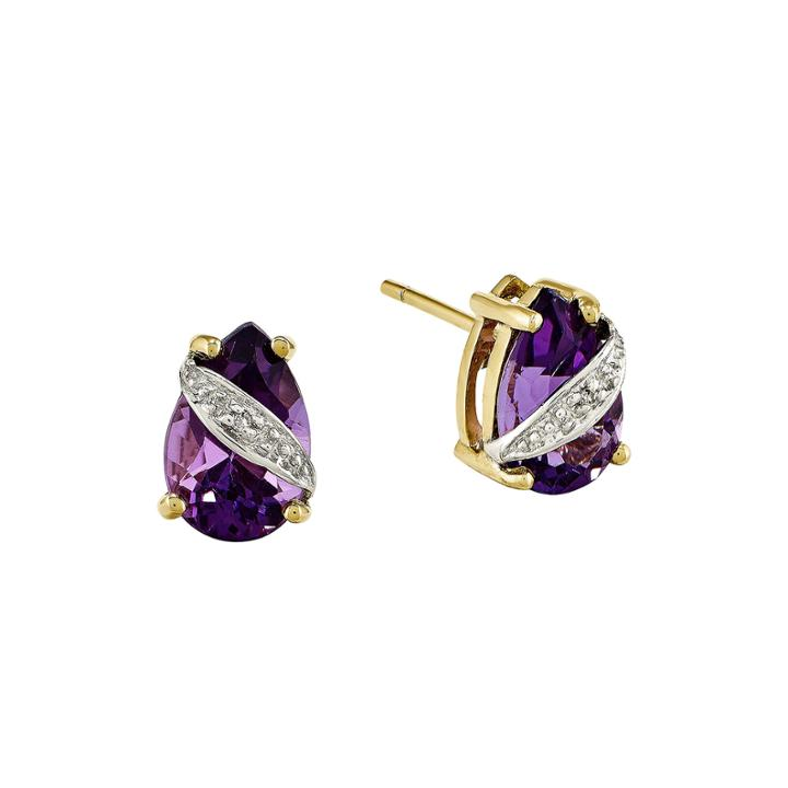 Genuine Amethyst And Diamond-accent 14k Yellow Gold Earrings