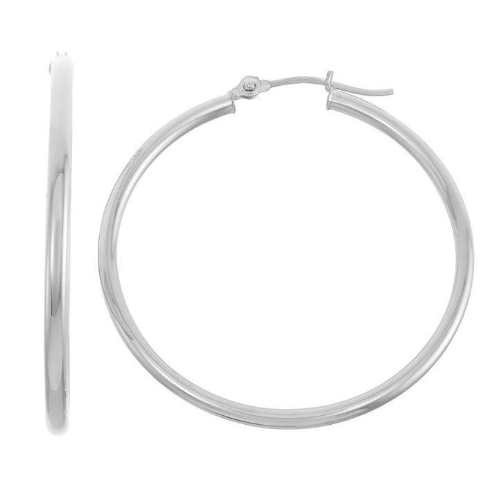14k White Gold 35mm Hoop Earrings