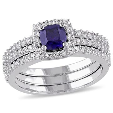 Modern Bride Gemstone Womens Blue Sapphire Sterling Silver Bridal Set