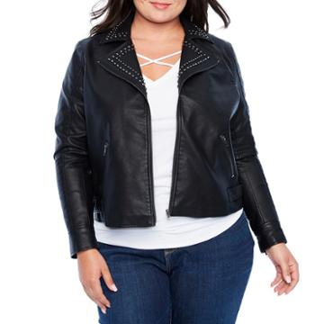 Boutique + Lightweight Studded Motorcycle Jacket - Plus