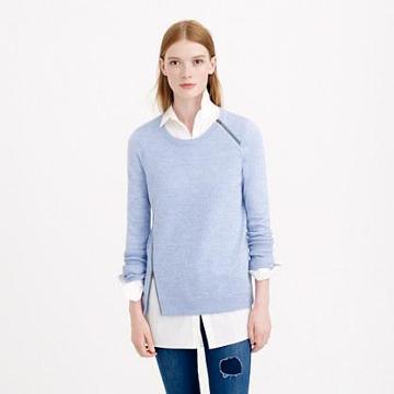 J.Crew Merino asymmetrical zip sweater