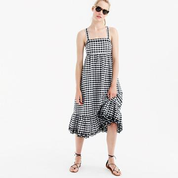 J.Crew Tall puckered gingham dress with eyelet trim