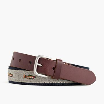 J.Crew Cotton web belt with embroidered trout