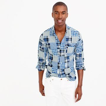 J.Crew Slim Indian madras shirt in blue patchwork