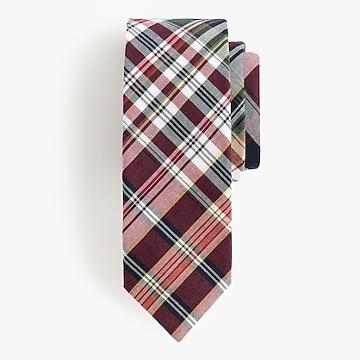 J.Crew Genuine Indian madras tie in cranberry laurel