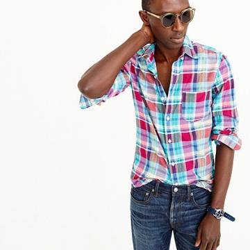 J.Crew Slim Indian madras shirt in red and teal plaid