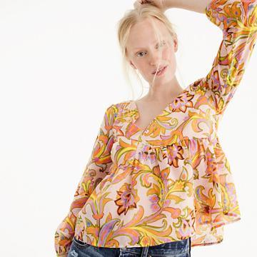 J.Crew Silk-cotton voile top in bright paisley